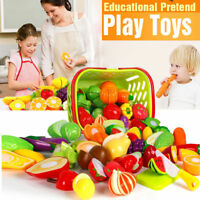 Kids Pretend Role Play Kitchen Fruit Vegetable Food Toy Cutting Set Child Gif Kp