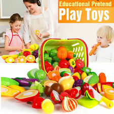Kids Pretend Role Play Kitchen Fruit Vegetable Food Toy Cutting Set Child GiftFO