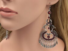 Floral Boho Chic ruby red crystal chandlier old silver plated earrings B42