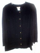 "Elisabeth black rayon - acetate dressy crepe l.s jacket  gold buttons14P 43"" NWT"