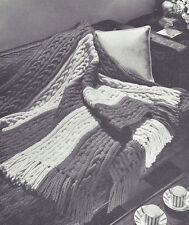 Vintage Knitting PATTERN to make Knitted Afghan/Throw Quick-Knit Bulky Cable