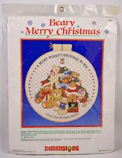 Beary Merry Christmas Crewel Embroidery Kit 1986 Dimensions Teddy Bear 8053 NIP