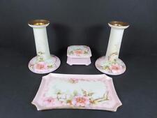 Antique French Limoges Bavarian Porcelain Floral Dresser Set (#63-9)