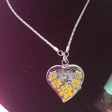 Heart Shaped Necklace Watch With Yellow Flowers Working