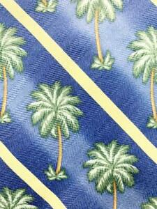 TOMMY BAHAMA BEACH PALM TREE STRIPE BLUE GREEN SILK NECKTIE TIE MJL0421B #Y31