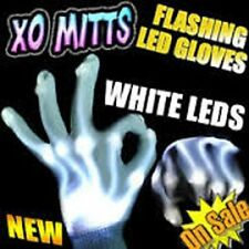 WHITE Electro Skeleton LED Light Up HALLOWEEN Dance Gloves W/WHITE LEDS - FUN~