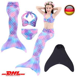 Mädchen Swimmable Kostüm Meerjungfrau Schwanz Schwimmen Monoflosse Bikini Set DE