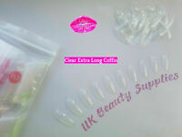 600x Extra Long Coffin CLEAR False Nails Full Cover Glue On Tips - UK SELLER