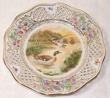 Antique Schumann Arzberg Germany Reticulated Porcelain Bowl Mallard Ducks Lovely