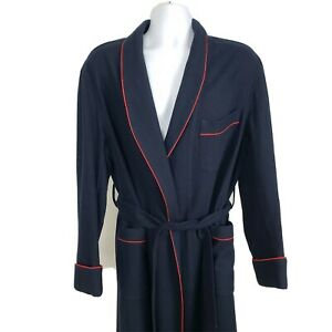 Brooks Brothers Wool Robe Belted Vintage 80s USA Blue Red Trim Mens Large