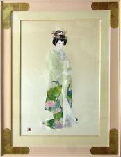 """Hisashi Otsuka """"Geisha"""" Japanese Kimono with Beautiful Frame Hand Signed"""