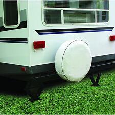 """Camco RV Vinyl Spare Tire Cover 27"""" Diameter White Camper Trailer Heavy Nylon"""