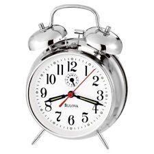 *BRAND NEW* Bulova Polished Chrome Finish Metal Case Alarm Clock B8127