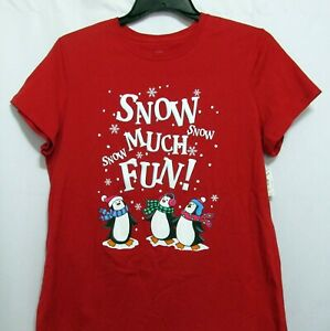 Snow Much Fun Ladies T Shirt Penguins Winter Red Size 2X XXL Cotton Tee
