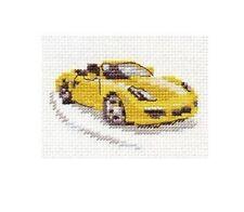 Cross Stitch Kit Yellow sports car