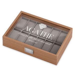 Uhrenbox aus Holz für 12 Uhren Gravur Uhrenkasten Geschenk Geburtstag Hochzeit