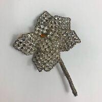 Antique Czechoslovakia Rhinestone Flower Brooch Wire Wrap Floral Art Nouveau