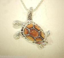34mm Large Sterling Silver Genuine Hawaiian Inlaid Koa Wood Sea Turtle Pendant