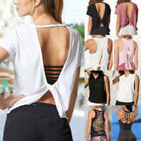 Women's Sports Yoga Shirt Vest Workout Fitness Running Stretch Crop Tank Tops O5