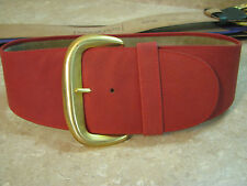 DONNA KARAN Wide Wave CURVED LEATHER BELT Red w/Gold Buckle VTG ITALIAN sz S