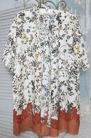 NEW Plus Size 1X Ivory Rust Lace Print Boho Open Duster Kimono