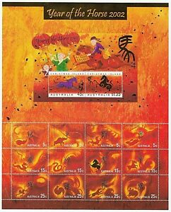 2002 AUSTRALIA STAMP MINI SHEET 'CHRISTMAS ISLAND - YEAR OF THE HORSE' - MNH