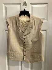 Replica 1860's White Linen Man's Vest, Civilian or Military