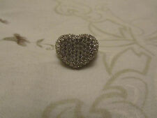 Silver Tone & Clear Diamante Heart Ring in Size K - tarnished