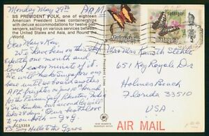 Mayfairstamps Malaysia to Holmes Beach FL Butterfly Combo Postcard wwp_64457