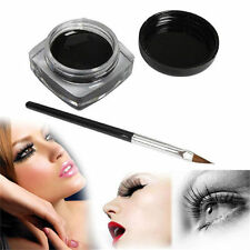 Pro Black Beauty Cosmetic Waterproof Eye Liner Eyeliner Shadow Gel Makeup+ Brush