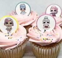 LOL Doll Glitter Cupcake Toppers Birthday Party Favors Party Supplies - 24 rings
