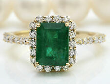 3.26CTW Natural Emerald and Diamonds in 14K Solid Yellow Gold Ring