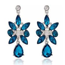 Ink Blue Crystal Flower Bohemian Long Drop Stud Fashion Women Earrings E1150