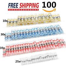 100Pcs Heat Shrink Solder Sleeve Butt Wire Connectors Solder & Seal Terminal Kit