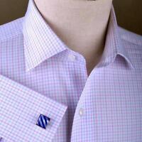 Purple Blue Striped Checkered Formal Business Dress Shirt Designer Fashion