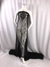 BLACK HAND BEADED LACE FABRIC EMBROIDER WITH BEADS AND PEARLS ON A MESH-BY YARD.