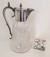 Victorian antique silver plated claret jug cut crystal, Bacchus, England c. 1880