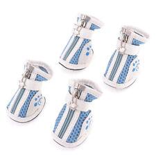 Pet Doggy Yorkie Chihuahuas, zipper white blue metal handle shoes 2 pair XXS 3N8