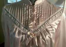 Vintage NWT Nicole Pink Brushed Back Cotton Glossy Satin Nightgown Sz S/M NOS