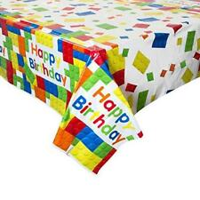 HAPPY BIRTHDAY BUILDING BLOCKS PLASTIC PARTY TABLE COVER NEW GIFT