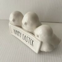 """Rae Dunn 3 Chicks Happy Easter Spring Ceramic Table Decor LL By Magenta 3 1/2"""""""