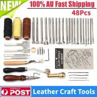 48pcs Leather Craft Hand Stitching Sewing Tool Kit Awl Waxed Thimble Needle Set