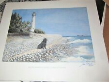 south manitou light house newfoundland dog & L. michigan art print signed mullin
