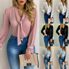 Womens Sexy Lace Sheer Chiffon T-Shirt Ladies V Neck Tie Office Blouse Size 8-22