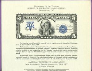 BEP 1977 ANA B41 Intaglio Souv. Card 1899 $5 Chief Onepapa Silver Cert. Face