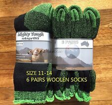 6 PAIRS 11-14 HEAVY DUTY AUSTRALIAN MERINO EXTRA THICK WOOL SOCKS BLACK/GREEN