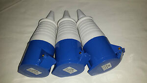 3 OFF 32 amp trail socket 3 pin IP44 rated, work sites caravan camping parks etc