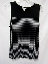 OLD NAVY top shirt shell tank Large 8/10 Bust 38 white and black stripe