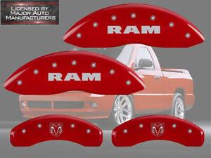 2002-2005 Dodge Ram 1500 Front + Rear Red MGP Brake Disc Caliper Cover RamHead