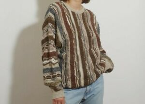 LINEAGE Golf Sweater L ~Vintage 90's~ Coogi Style ~ Multicolor Beige Mid-Weight